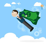 Man with money wings business concept. Vector card or background vector illustration