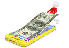Man and Money in yellow Mobile Phone on a white background Royalty Free Stock Images