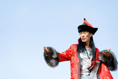 Man in Mongolian costume Stock Photo