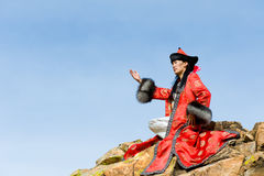 Man in Mongolian costume Stock Image