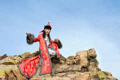Man in Mongolian costume Stock Photography