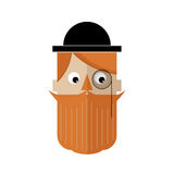 Man with a monocle and a bowler hat with a red beard and a mustache. Flat avatar. Stock Image