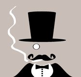 Man with monocle and mustache Royalty Free Stock Images
