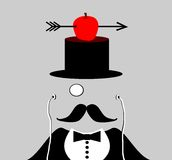 Man with monocle and mustache Stock Images