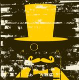 Man with monocle and mustache. Grunge man with monocle and mustache and stock illustration