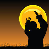 Man on the moonlight vector Stock Photo