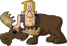 Man in a Moose Costume stock illustration