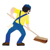 Man mopping floor Royalty Free Stock Photo