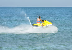 Man on moto boat. SAINT CONSTANTINE AND SAINT HELEN, BULGARIA - JULY 01, 2014: tourist on moto boat. St. Constantine and St. Helen the oldest resort of Bulgaria Royalty Free Stock Images