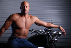 Man and motor cycle. Royalty Free Stock Photography