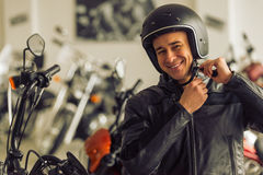 Man with motorbike Royalty Free Stock Photography