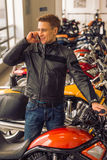 Man with motorbike Royalty Free Stock Photo