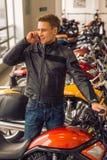 Man with motorbike Royalty Free Stock Photo