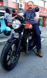 Man on Triumph Motorcycle Stock Photos