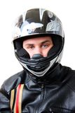 Man in motorbike helmet Royalty Free Stock Image