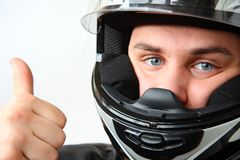 Man in motorbike helmet Royalty Free Stock Photos