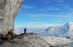 Man with motorbike on the top of mountains - 3D rendering Stock Photo