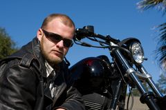 Man With Motorcycle Royalty Free Stock Photography