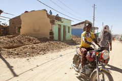 Man on a motorcycle,  Ethiopia Royalty Free Stock Images