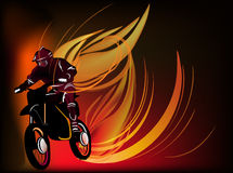 Man on motorcycle in fire illustration Royalty Free Stock Photography