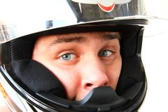 Man in motorcycle helmet Stock Photography