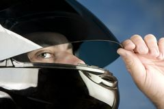Man in a motorcycle helmet Royalty Free Stock Photo