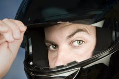 Man in a motorcycle helmet Stock Photo