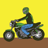 Man on a Motorcycle with helmet - sportbike royalty free illustration