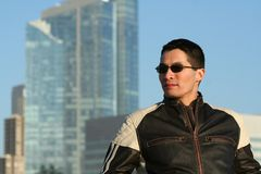 Man in Motorcycle Jacket Stock Photos