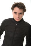 Man in motorcycle jacket Stock Photography