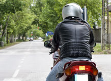 Man on a motorcycle. Street bike closeup royalty free stock images