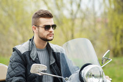 Man on the motorcycle. View of a man on the motorcycle Royalty Free Stock Photos