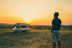 Man with motorhome Royalty Free Stock Photography