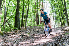 Man on mountain bike bicycle Stock Photos