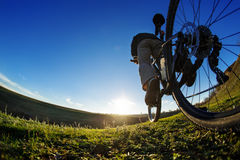 Man on mountain bike rides on the trail on a beautiful sunrise. Bicycle wheel closeup. Royalty Free Stock Photo
