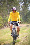 Man and mountain bike riding in jungle track use for bicycle spo Stock Image