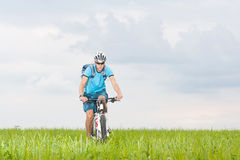 Man with mountain bike. Tripping in summer Royalty Free Stock Image