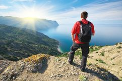 Man in mountain. stock photography