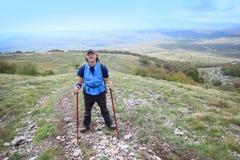 Man on mountain Grobnicke Alpe Stock Photography