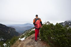 Man in a mountain hike Stock Photography