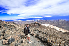 Man at mountain landscape near volcano Teide Stock Image