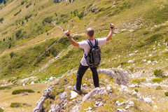 Man on Mountain Pirin Stock Photo
