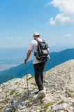 Man on Mountain Pirin Stock Images