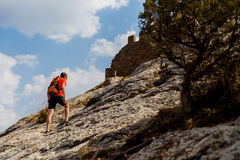 Man on mountain in summer Royalty Free Stock Photo