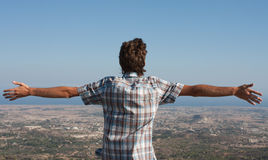 Man on the mountain top Stock Images