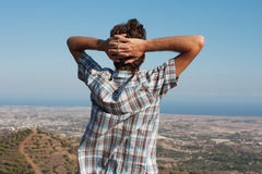Man on the mountain top Stock Photos
