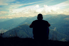 Man on a mountain top Royalty Free Stock Photo