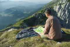 Man on mountains Royalty Free Stock Image