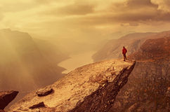 Man in mountains , Norway Royalty Free Stock Photo