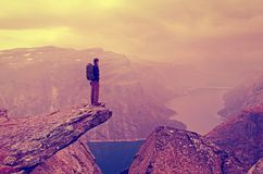 Man in mountains , Norway Royalty Free Stock Images